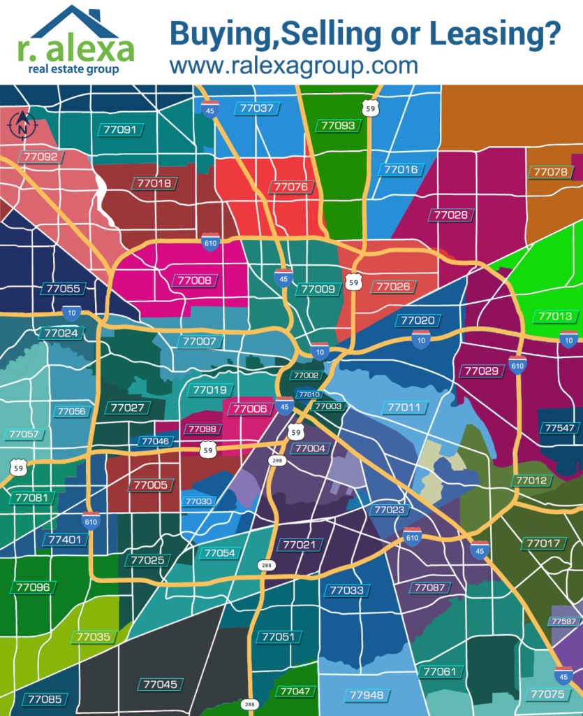 Houston Zip Code Map | R. Alexa Group | Houston Real Estate Agents